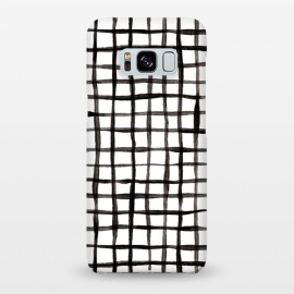 Modern Graphic Black and White Hand Painted Grid by Micklyn Le Feuvre