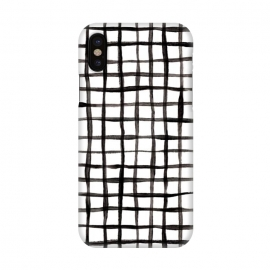 iPhone X  Modern Graphic Black and White Hand Painted Grid by  (modern,graphic,black and white,mono,monochrome,simple,scandi,squares,grid,check,hand painted, gouache, lines,geometric,micklyn,boxes,black,white,painting,paint,winter)