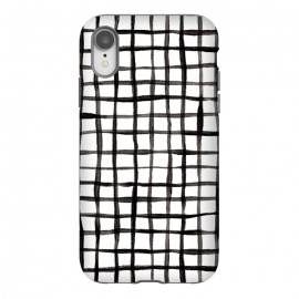 iPhone Xr  Modern Graphic Black and White Hand Painted Grid by