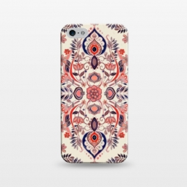 iPhone 5/5E/5s  Modern Folk in Coral Red and Indigo by Micklyn Le Feuvre
