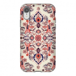 iPhone Xr  Modern Folk in Coral Red and Indigo by Micklyn Le Feuvre