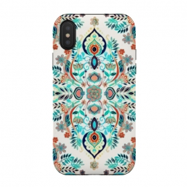 Modern Folk in Jewel Colors by Micklyn Le Feuvre (modern,folk,art,pattern,graphic,turquoise,blue,coral,red,nature,leaves,leaf,floral,flowers,flower,boho,summer,bohemian,cream,white,colorful,enamel,micklyn,aqua)