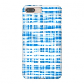 iPhone 8/7 plus  Happy Cobalt Blue Hand Painted Gingham by