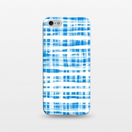 iPhone 5/5E/5s  Happy Cobalt Blue Hand Painted Gingham by Micklyn Le Feuvre