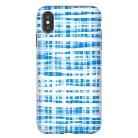 iPhone Xs Max  Happy Cobalt Blue Hand Painted Gingham by Micklyn Le Feuvre