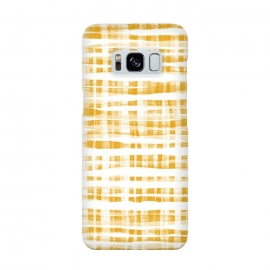 Happy Mustard Yellow Hand Painted Gingham by Micklyn Le Feuvre