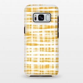Galaxy S8 plus  Happy Mustard Yellow Hand Painted Gingham by  (mustard,yellow,graphic,check,pattern,fall,autumn,yellow and white,white,plaid,gingham,hand painted, gouache,paint,texture,modern,abstract,simple,trend,trendy,micklyn,squares)