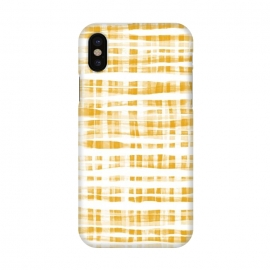 iPhone X  Happy Mustard Yellow Hand Painted Gingham by Micklyn Le Feuvre