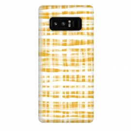 Galaxy Note 8  Happy Mustard Yellow Hand Painted Gingham by