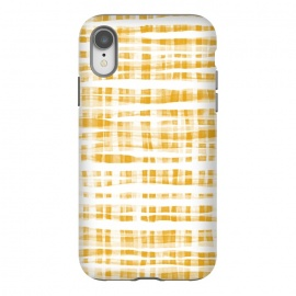 iPhone Xr  Happy Mustard Yellow Hand Painted Gingham by Micklyn Le Feuvre
