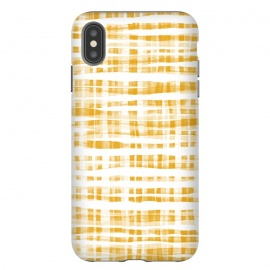 iPhone Xs Max  Happy Mustard Yellow Hand Painted Gingham by Micklyn Le Feuvre