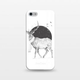 iPhone 5/5E/5s  Winter is all around by Balazs Solti (deer,reindeer,winter,snow,xmas,holidays,festivity,christmas,black and white)