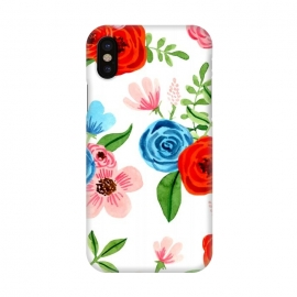 iPhone X  White Ditsy Block Floral Garden Print by