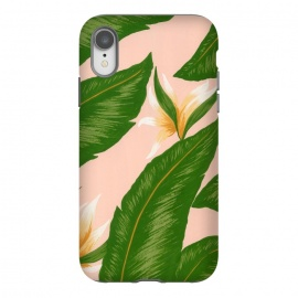 iPhone Xr  Pink Bird Of Paradise Jungle Floral Print by