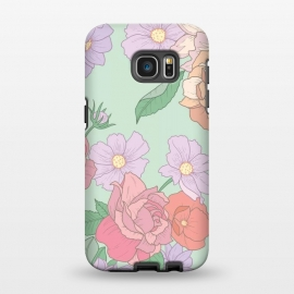 Galaxy S7 EDGE  Green Floral Bouquet Print by Becky Starsmore