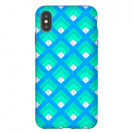 iPhone Xs Max  BLUE GREEN DIAMOND PATTERN by MALLIKA