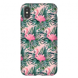 iPhone Xs Max  Pink Flamingo Vacation Print by Becky Starsmore