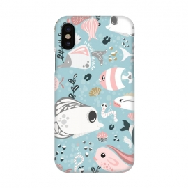 iPhone X  Funny Fish in Pink and Grey by Paula Ohreen