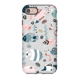 iPhone 8/7  Funny Fish in Pink and Blue by Paula Ohreen
