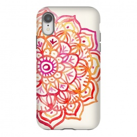 iPhone Xr  Watercolor Mandala in Sunset Colors by Micklyn Le Feuvre (watercolor,watercolour,boho,bohemian,mandala,medallion,autumn,fall,red,pink,orange,cream,fuchsia,hand painted,magenta,girly,flower,floral,bright,color,colorful)