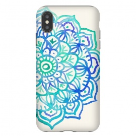 iPhone Xs Max  Watercolor Mandala in Ocean Colors by Micklyn Le Feuvre