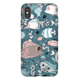 iPhone Xs Max  Funny Fish in Blue and White by Paula Ohreen