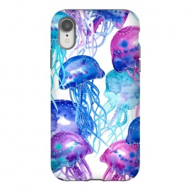iPhone Xr  Blue Watercolour Jellyfish Print by Becky Starsmore