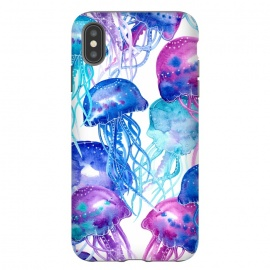 Blue Watercolour Jellyfish Print by Becky Starsmore