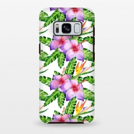 Galaxy S8+  Tropical Jungle Floral Print by Becky Starsmore