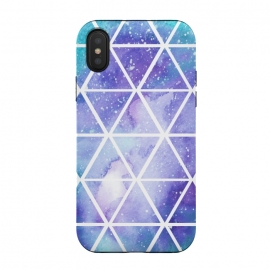 iPhone Xs / X  Geometric Galaxy Print by Becky Starsmore (triangle,triangles,geometric,pattern,print,space,galaxy,star,stars,night,sky,watercolor,watercolour,purple,blue,green)