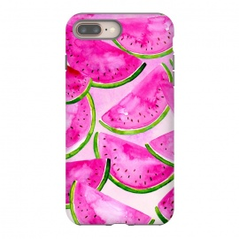 iPhone 8/7 plus  Pink Summer Watermelon Print by Becky Starsmore