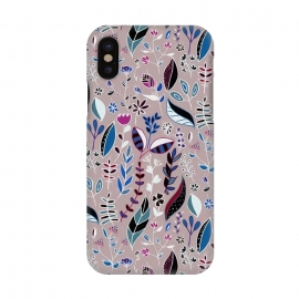 iPhone X  Vibrant Nature Doodle On soft Grey  by Tigatiga