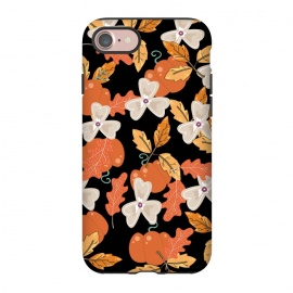 iPhone 8/7  Pumpkin and Spice by allgirls (autumn, fall,pumpkin, flowers, floral, black,leaves)