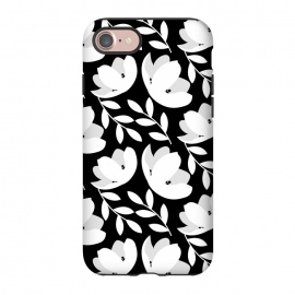 iPhone 8/7  Black and White Floral Pattern by allgirls (black and white, flowers,floral,pattern,elegant,classic,chic)