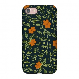 iPhone 8/7  Elegant Floral by allgirls (Floral pattern, gift for her, flowers, green,orange,elegant,holiday gifts)