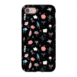iPhone 8/7  Whimsical Floral by allgirls (Whimsical Floral,black, pink, cute,illustration)