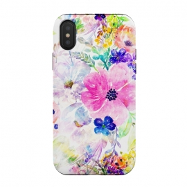 iPhone Xs / X  Pretty watercolor floral hand paint design by InovArts (Pretty,watercolor floral,hand paint,dreamy,adorable design,boho chic,watercolor paint,wild flowers,elegant flower,foliage,blush,Beautiful,romantic,fashion trend,original,creative art,glamorous,feminine,image,home decor,pink,blue,peacock blue,purple,violet,yellow,green,orange,red,color,white)