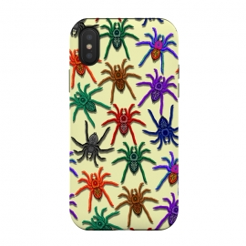 iPhone Xs / X  Spiders Colorful Halloween Tarantulas Pattern by BluedarkArt