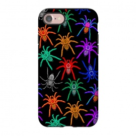 iPhone 8/7  Spiders Pattern Colorful Tarantulas on Black by BluedarkArt