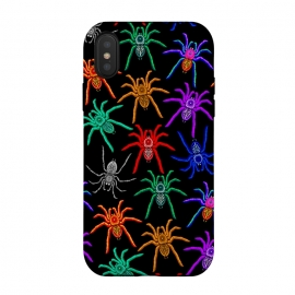 iPhone Xs / X  Spiders Pattern Colorful Tarantulas on Black by