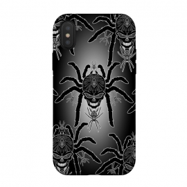 iPhone Xs / X  Spider Skull Tattoo Black and Whi by BluedarkArt (Spider, Tarantula, Black Widow, skull, spider skull, tattoo, deadly spider, deadly animal, surreal spider, poisonous Spider, venomous spider, death, danger, dead, decorative spider, arachnid, tattoo spider, black and white spider, ornamental spider, symmetric, vector, illustration, isolated, bug, te)