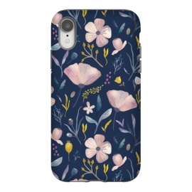 iPhone Xr  Delicate Pastel Floral on Blue by Noonday Design
