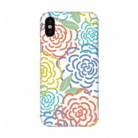 iPhone X  Roses I by TracyLucy Designs (floral,roses,illustration,colorful)