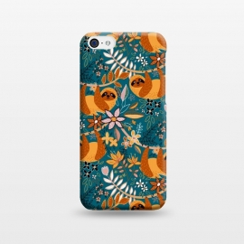 iPhone 5C  Cute Boho Sloth Floral  by Micklyn Le Feuvre