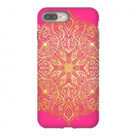 Ornate Gold Mandala on Hot Pink by Micklyn Le Feuvre