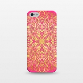 iPhone 5/5E/5s  Ornate Gold Mandala on Hot Pink by Micklyn Le Feuvre