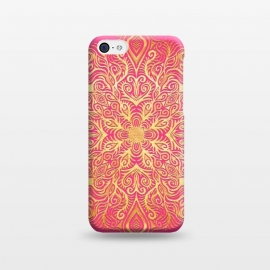 iPhone 5C  Ornate Gold Mandala on Hot Pink by Micklyn Le Feuvre