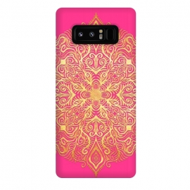 Galaxy Note 8  Ornate Gold Mandala on Hot Pink by Micklyn Le Feuvre