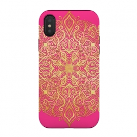 iPhone Xs / X  Ornate Gold Mandala on Hot Pink by Micklyn Le Feuvre (gold,golden,magenta,pink,hot pink,fuchsia,gradient,micklyn,design,girly,colorful,bright,eastern,doodle,texture,detailed,ornate,boho,bohemian,mandala,medallion,trend,trendy)