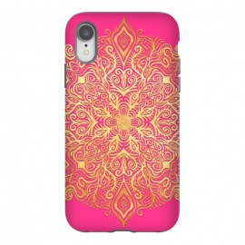 iPhone Xr  Ornate Gold Mandala on Hot Pink by Micklyn Le Feuvre (gold,golden,magenta,pink,hot pink,fuchsia,gradient,micklyn,design,girly,colorful,bright,eastern,doodle,texture,detailed,ornate,boho,bohemian,mandala,medallion,trend,trendy)